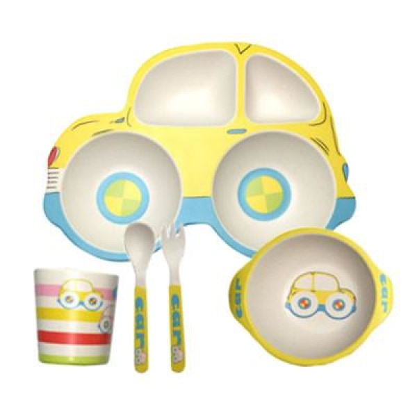 Car Baby Feeding Set - Yellow