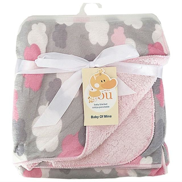 Double Layer Baby Blanket - Clowds
