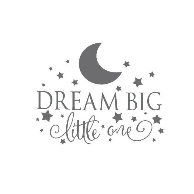 Dream Big Little One Wall Sticker - Dark gray / 58CM X 35CM