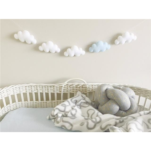 Felt Cloud Garland - White 4 Blue 1