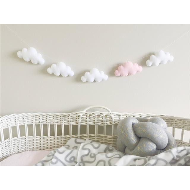 Felt Cloud Garland - White 4 Pink 1