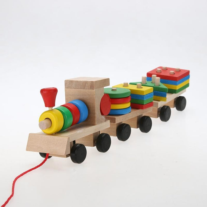 Geometric Wooden Train Puzzle