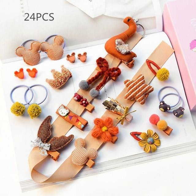 Girls Hair Accessories 18-24 Pcs Set - Beige / 24 pcs
