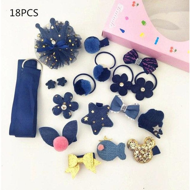 Girls Hair Accessories 18-24 Pcs Set - Blue / 18 pcs