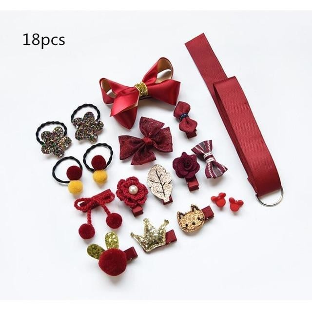 Girls Hair Accessories 18-24 Pcs Set - Bordeaux / 24 pcs