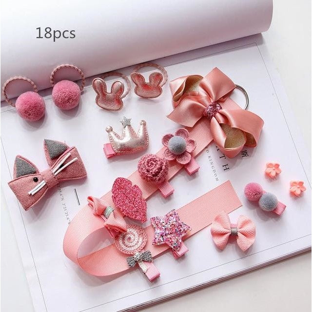 Girls Hair Accessories 18-24 Pcs Set - Dark Pink / 18 pcs