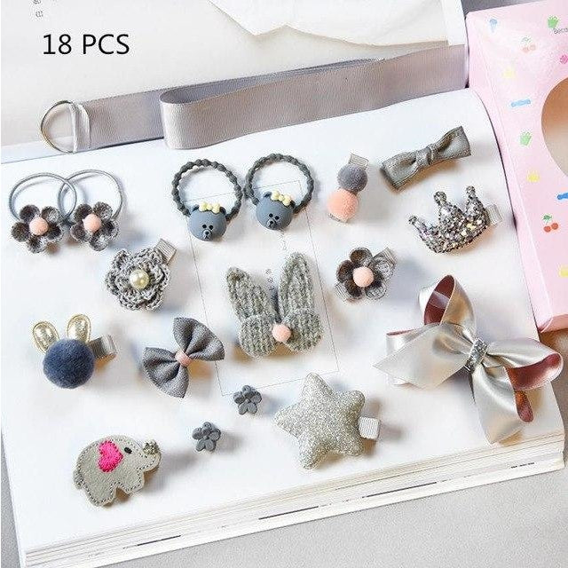 Girls Hair Accessories 18-24 Pcs Set - Grey / 18 pcs