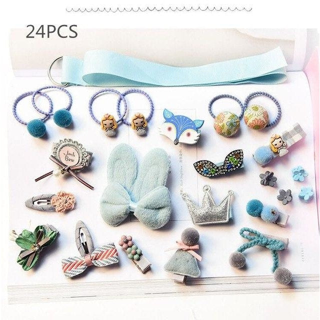 Girls Hair Accessories 18-24 Pcs Set - Light Blue / 24 pcs