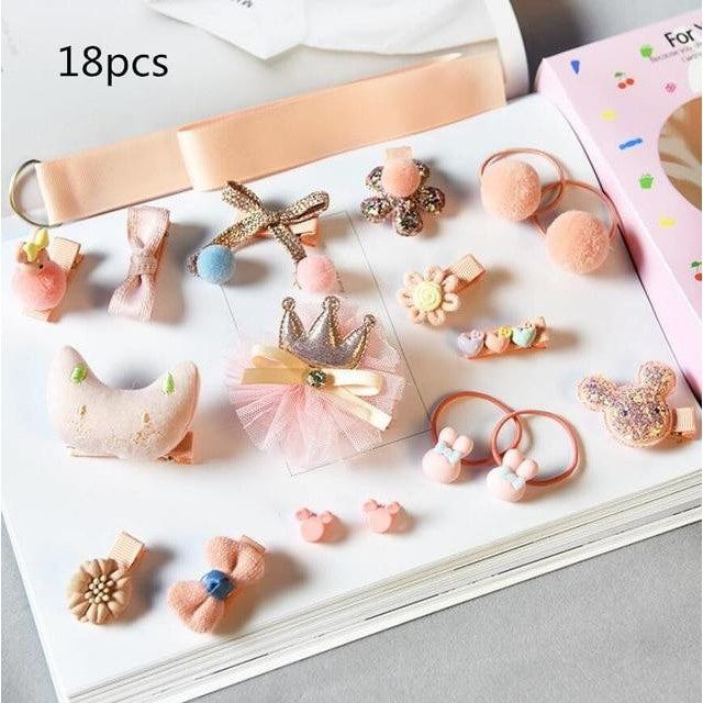 Girls Hair Accessories 18-24 Pcs Set - Pale Rose / 18 pcs
