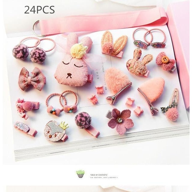 Girls Hair Accessories 18-24 Pcs Set - Pink 2 / 24 pcs