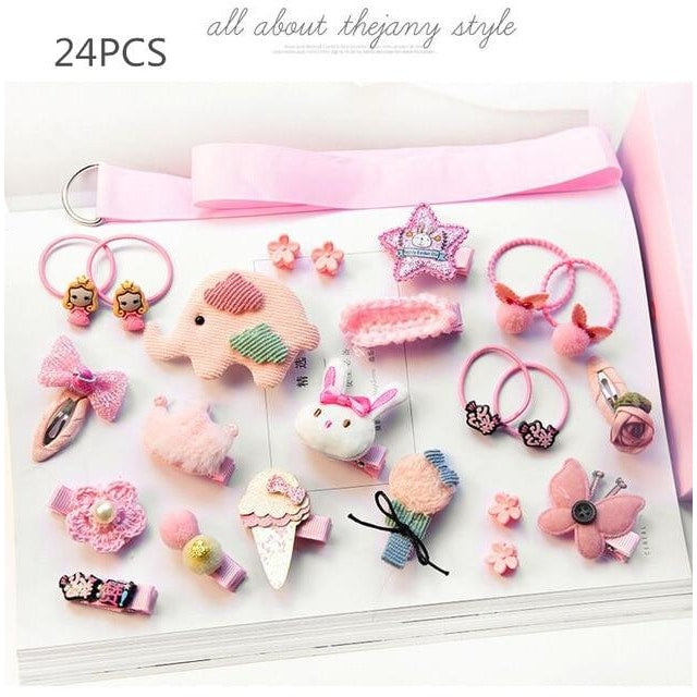 Girls Hair Accessories 18-24 Pcs Set - Pink 3 / 24 pcs