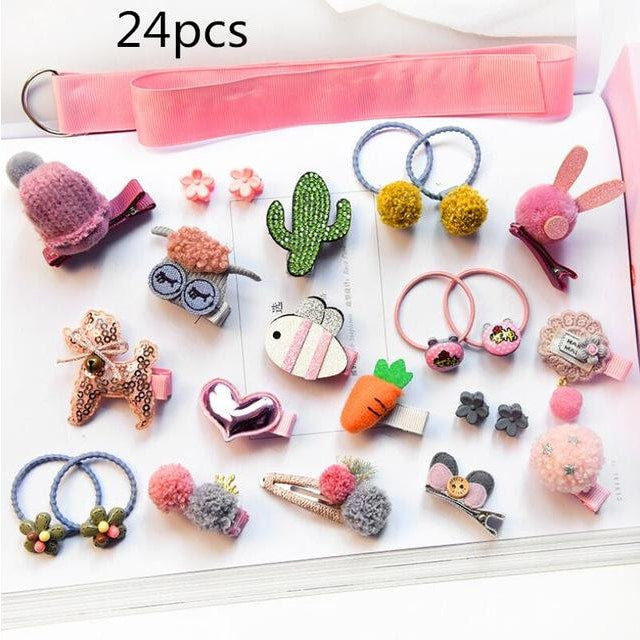 Girls Hair Accessories 18-24 Pcs Set - Pink 4 / 24 pcs