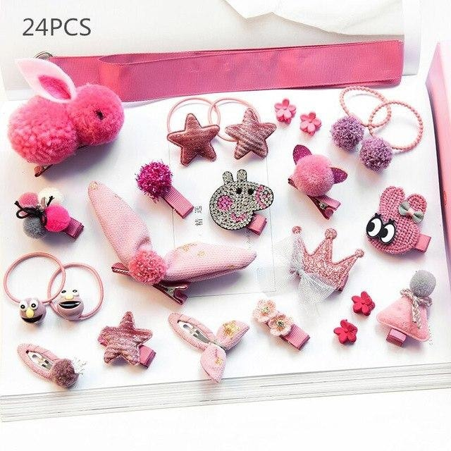Girls Hair Accessories 18-24 Pcs Set - Pink 5 / 24pcs