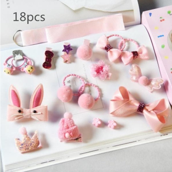 Girls Hair Accessories 18-24 Pcs Set - Pink / 18 pcs