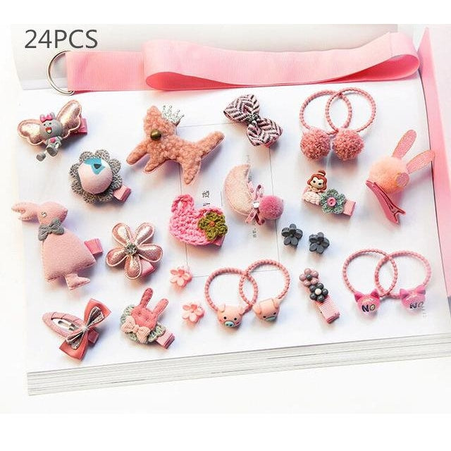 Girls Hair Accessories 18-24 Pcs Set - Pink / 24 pcs