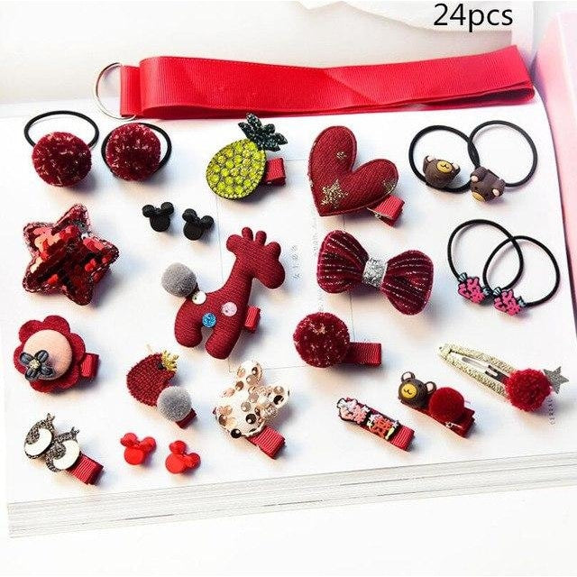 Girls Hair Accessories 18-24 Pcs Set - Red / 24 pcs