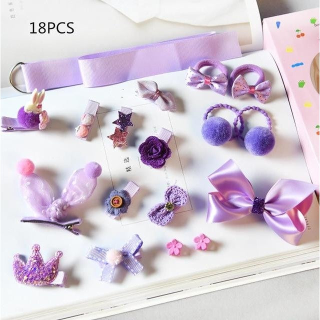Girls Hair Accessories 18-24 Pcs Set - Violet / 18 pcs