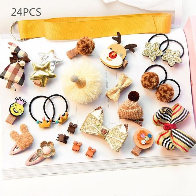 Girls Hair Accessories 18-24 Pcs Set - Yellow 2 / 24 pcs