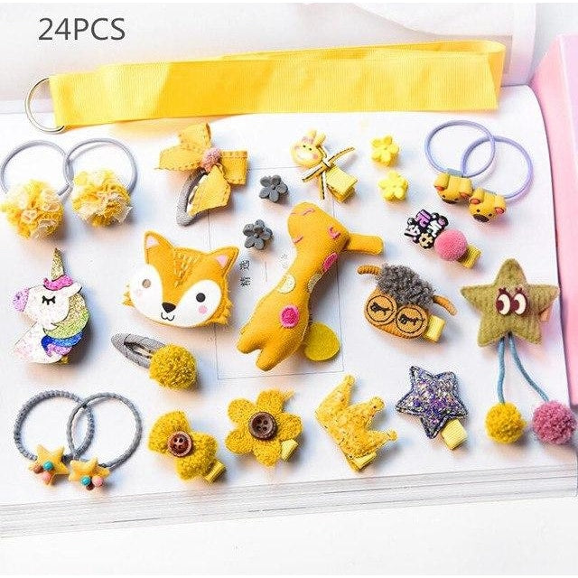 Girls Hair Accessories 18-24 Pcs Set - Yellow / 24 pcs