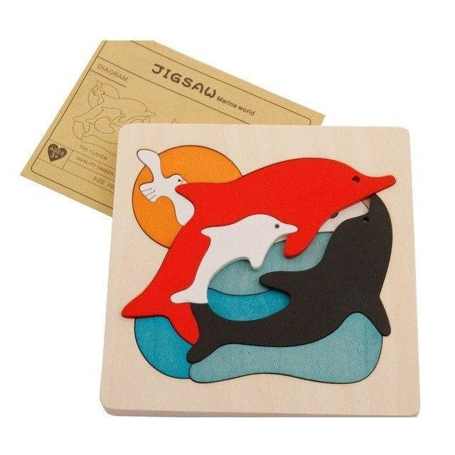 Multilayer Animals Family Puzzle - Dolphins