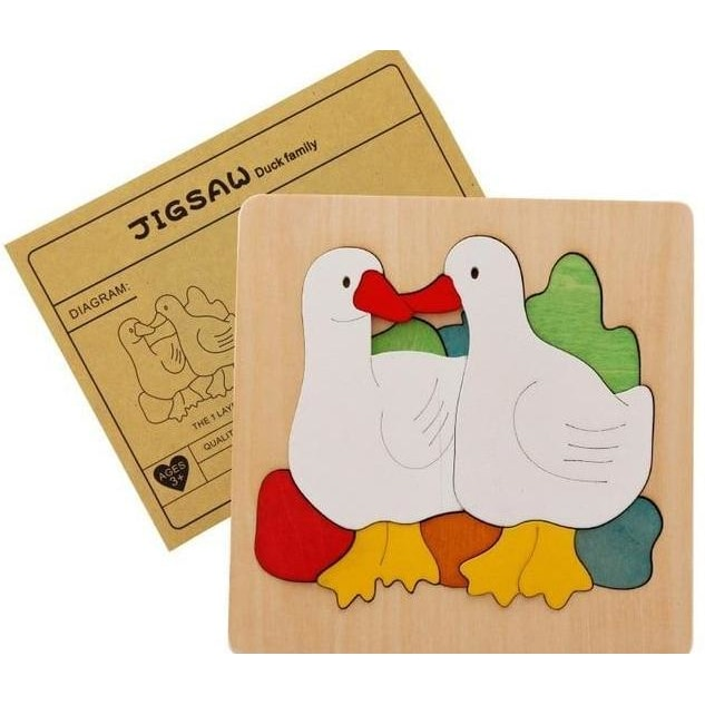 Multilayer Animals Family Puzzle - Duks