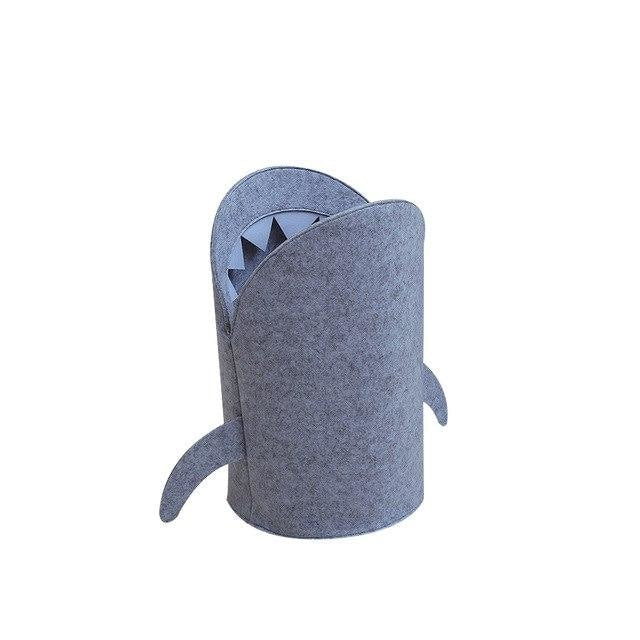 Open-mouthed Shark Laundry Basket - Small / Grey