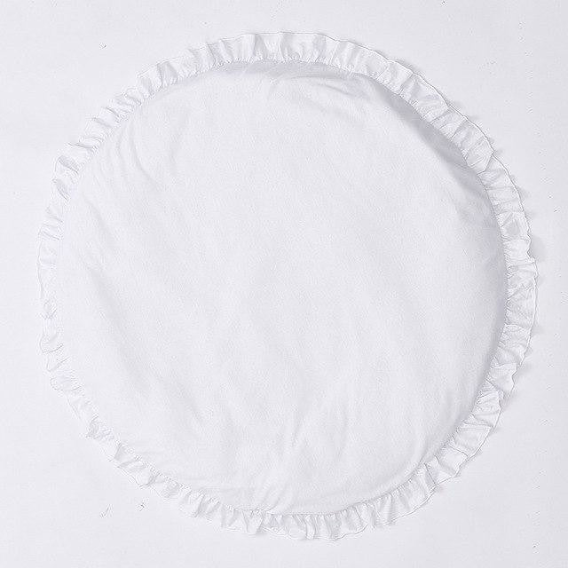Ruffled Edging Baby Play Mat - White