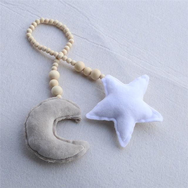 Star & Moon Wooden Ornaments - Grey Moon White Star