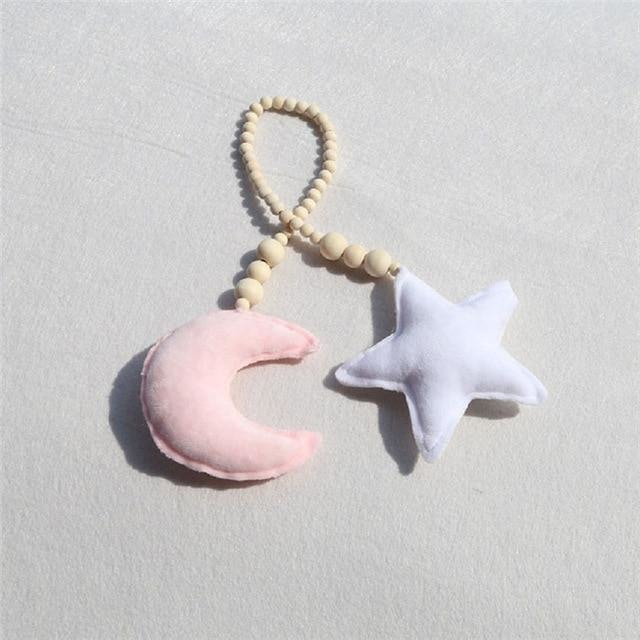 Star & Moon Wooden Ornaments - Pink Moon White Star
