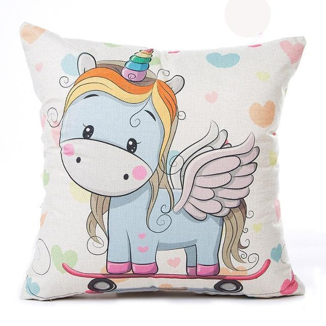 Unicorn Pillow Case - Skateboard
