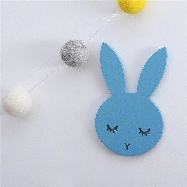 w. 1Pcs Nordic Cute Rabbit Hook Black White Wood Wall Decorations Kids Room Wall Home Decor Clothes Hanger Gifts 3D Wall Sticker - blue /