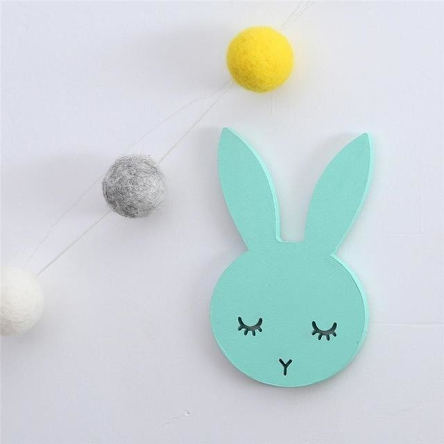 w. 1Pcs Nordic Cute Rabbit Hook Black White Wood Wall Decorations Kids Room Wall Home Decor Clothes Hanger Gifts 3D Wall Sticker - green /