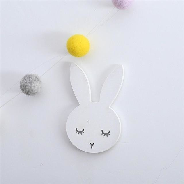 w. 1Pcs Nordic Cute Rabbit Hook Black White Wood Wall Decorations Kids Room Wall Home Decor Clothes Hanger Gifts 3D Wall Sticker - white /
