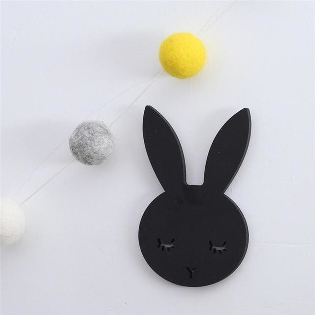 w. 1Pcs Nordic Cute Rabbit Hook Black White Wood Wall Decorations Kids Room Wall Home Decor Clothes Hanger Gifts 3D Wall Sticker - black /