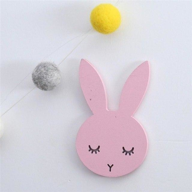 w. 1Pcs Nordic Cute Rabbit Hook Black White Wood Wall Decorations Kids Room Wall Home Decor Clothes Hanger Gifts 3D Wall Sticker - pink /