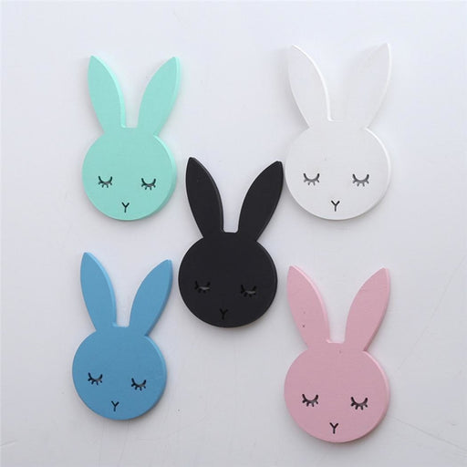 w. 1Pcs Nordic Cute Rabbit Hook Black White Wood Wall Decorations Kids Room Wall Home Decor Clothes Hanger Gifts 3D Wall Sticker