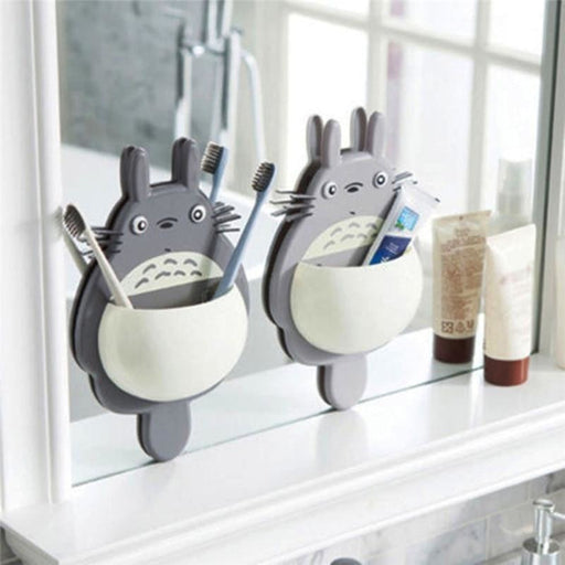 w. 1Pcs Toothbrush Wall Mount Holder Cute Totoro Sucker Suction Bathroom Organizer Family Tools Accessories Drop Shipping
