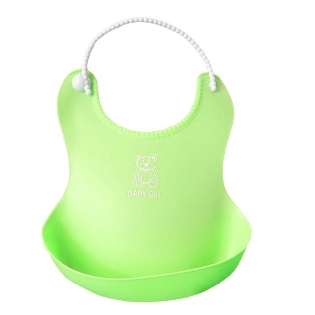 w. 2018 Baby Infant Toddler Waterproof Silicone Bib Infants Feeding Lunch Roll-up Apron - Light Green