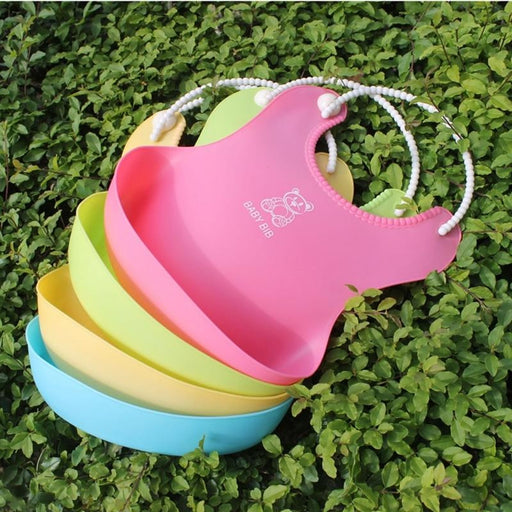 w. 2018 Baby Infant Toddler Waterproof Silicone Bib Infants Feeding Lunch Roll-up Apron