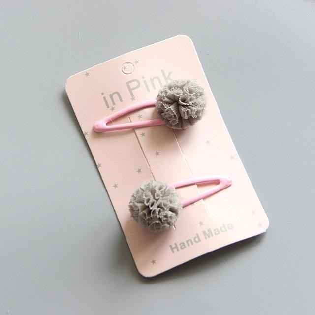 w. 2Pc/Set Cute Lace Pom Pom Baby Hair Clips Cute Kids Baby Girl Hairpin Haarspeldjes Barettes Fille Enfant Baby Hair Accessories - gray