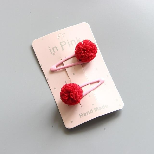 w. 2Pc/Set Cute Lace Pom Pom Baby Hair Clips Cute Kids Baby Girl Hairpin Haarspeldjes Barettes Fille Enfant Baby Hair Accessories - red