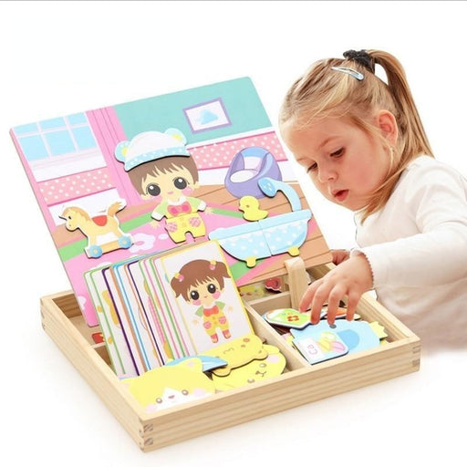 w. 3D Magnetic Wooden Puzzle Sticker Baby Dress Up Education Puzzle set Wooden Toy For Children