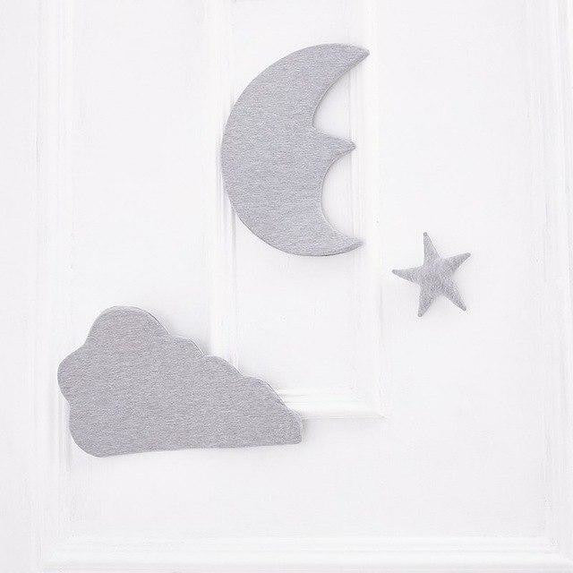 w. 3pcs/set 3D Moon Cloud Star Wall Stickers INS Nordic Style Children Room Decoration Kids Play Tent Hanging Ornament Photo Props - Grey