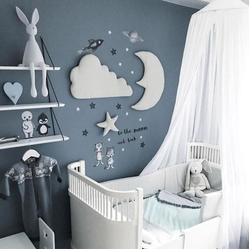w. 3pcs/set 3D Moon Cloud Star Wall Stickers INS Nordic Style Children Room Decoration Kids Play Tent Hanging Ornament Photo Props