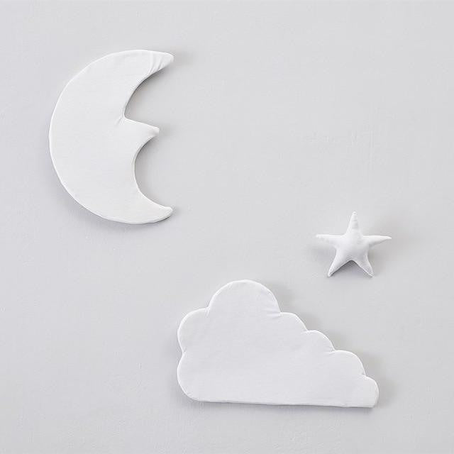 w. 3pcs/set 3D Moon Cloud Star Wall Stickers INS Nordic Style Children Room Decoration Kids Play Tent Hanging Ornament Photo Props - White