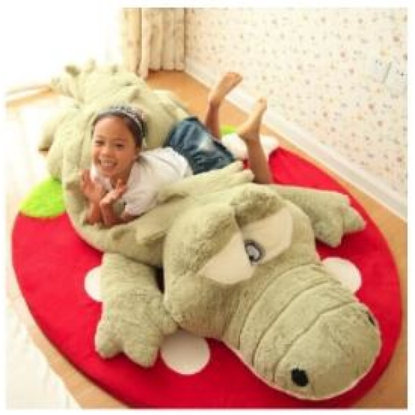 w. 60cm Cute Crocodile Lying Section Plush Pillow Mat Hand Doll Stuffed Toy Cartoon Toys Kids Prize Gift WJ496 - 60CM / Green