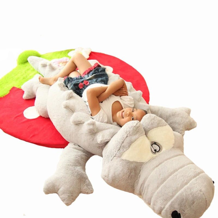 w. 60cm Cute Crocodile Lying Section Plush Pillow Mat Hand Doll Stuffed Toy Cartoon Toys Kids Prize Gift WJ496