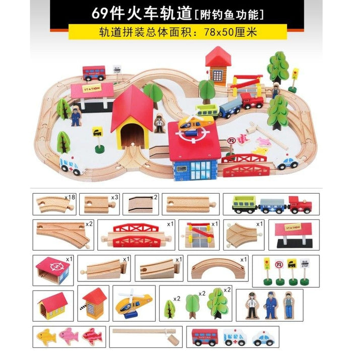 w. 69pcs Kids Wooden Railway Block Sets Toy Creative Traffic Scene Building Puzzle with Fishing Educational Toy Birthday Gift