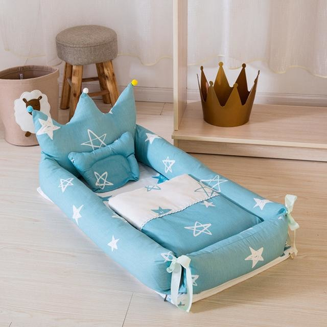 w. ALWAYSME 90X55CM Baby Bedding Accessories Quilt & Pillow & Sheets & Bumpers Co-Sleeping Crib & Cradle Bedside Cribs Travel Beds - Blue