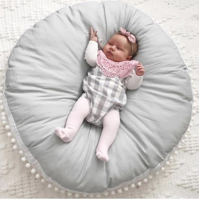 w. Baby Crawling Pad Cotton Wool Ball Thick Kids Newborn Carpet Round Game Play Mat Childrens Room Decora Soft Infant Sofa Cushion